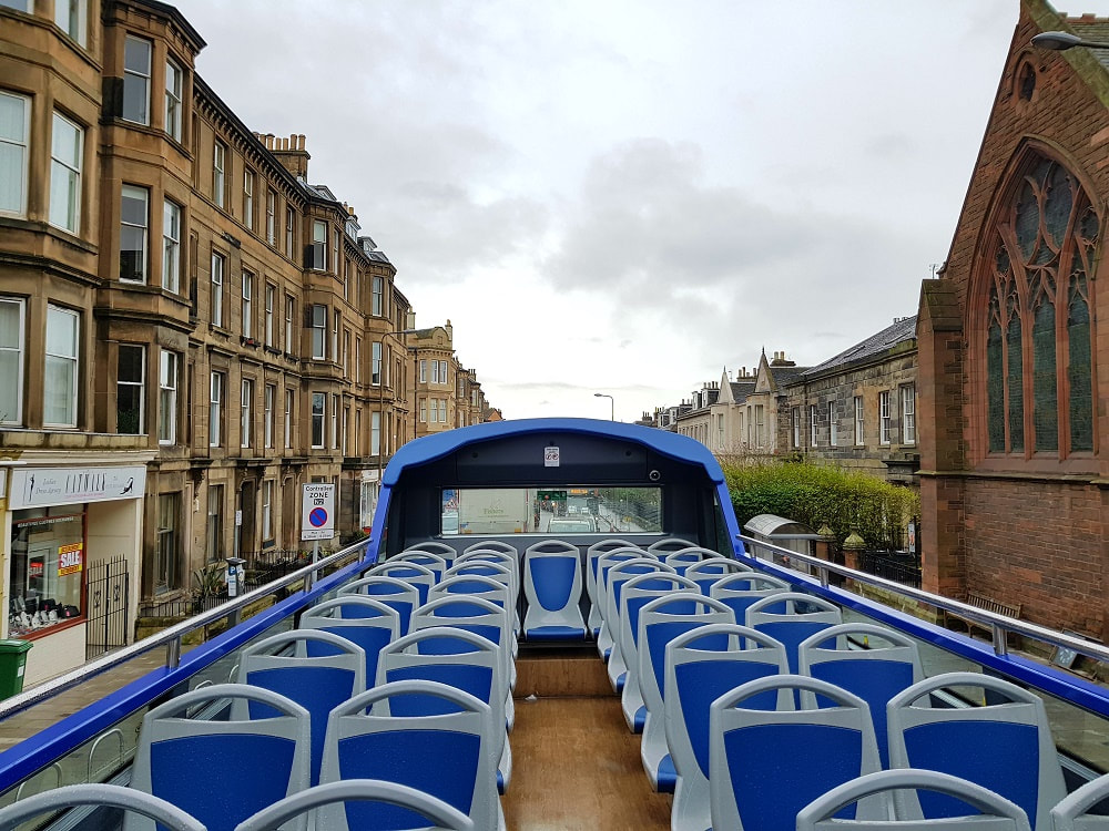 The top deck of an open top bus