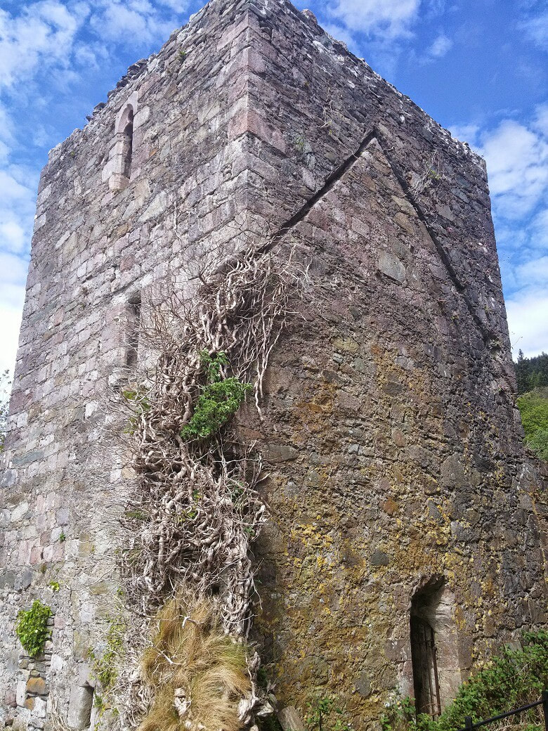 A ruined stone tower with ivy on the walls