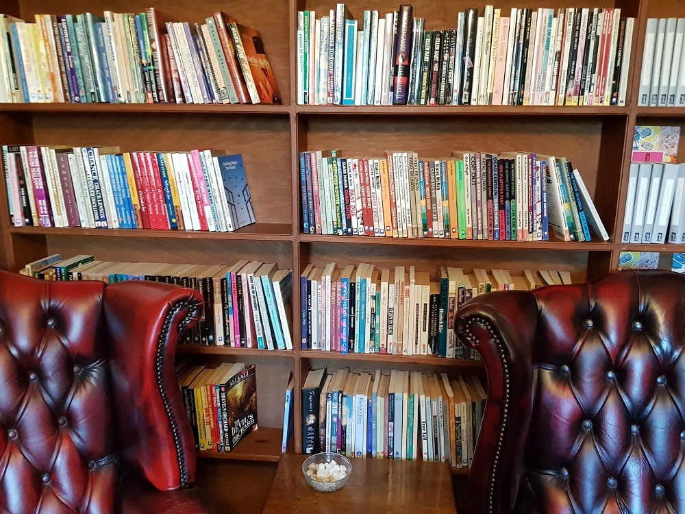 Two leather armchairs sitting in front of shelves filled with books